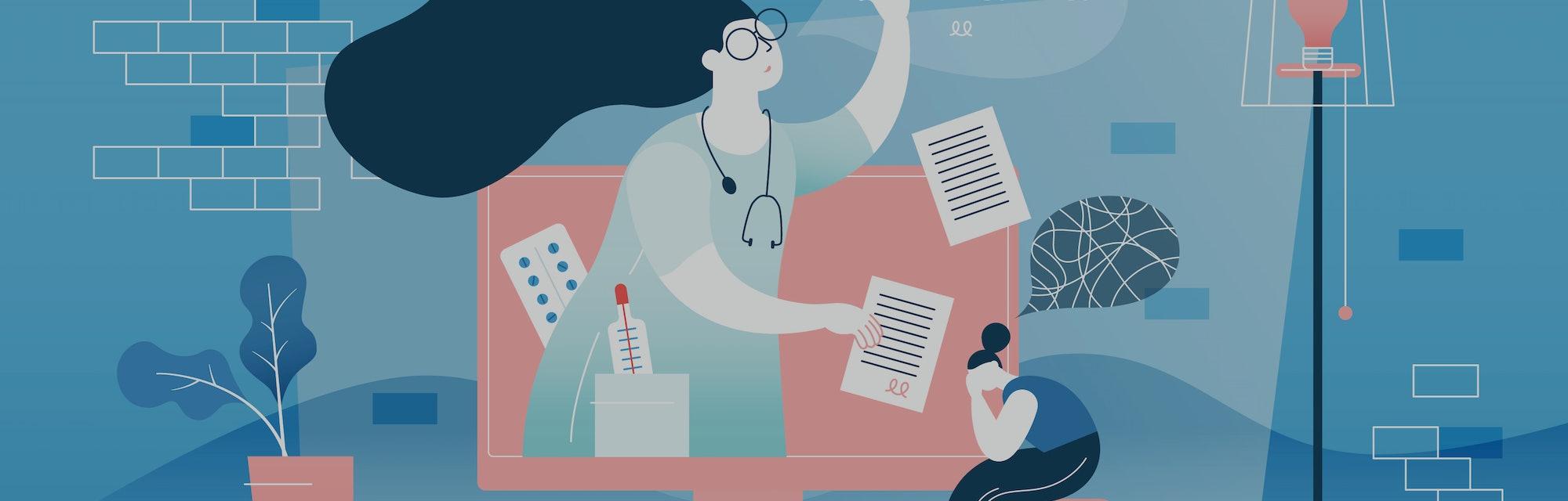 Online doctor vector illustration. Flat tiny medical help persons concept. Distance internet emergen...