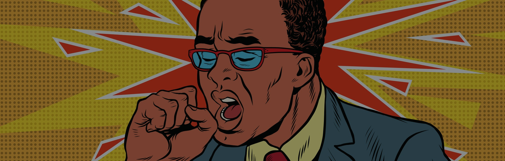Sick man coughing. Pop art retro vector illustration. medicine and health care. The symptoms of the disease. African American people