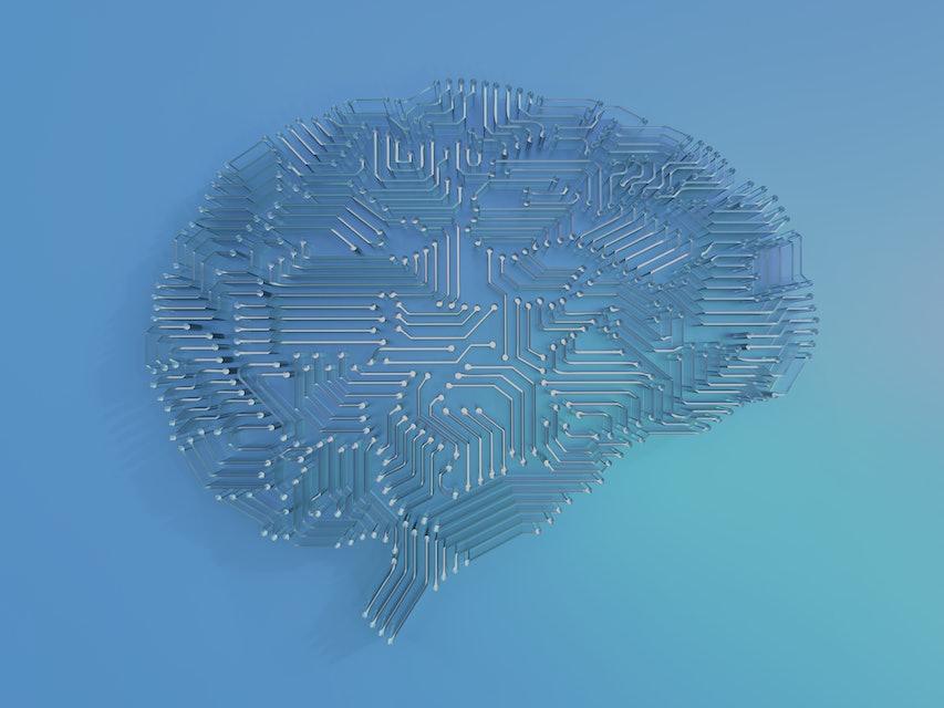 3d rendering artificial intelligence brain or circuit board in brain shape