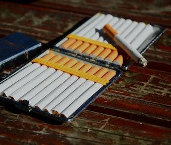 Close-up of Tobacco Cigarettes,a cigarette box