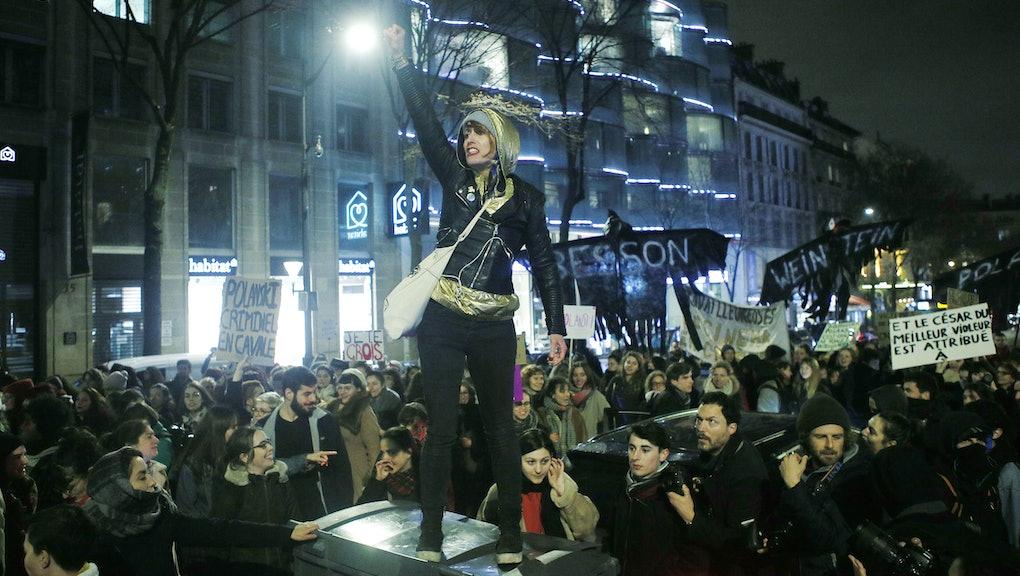 Feminist protest against Roman Polanski at the 2020 Cesars awards