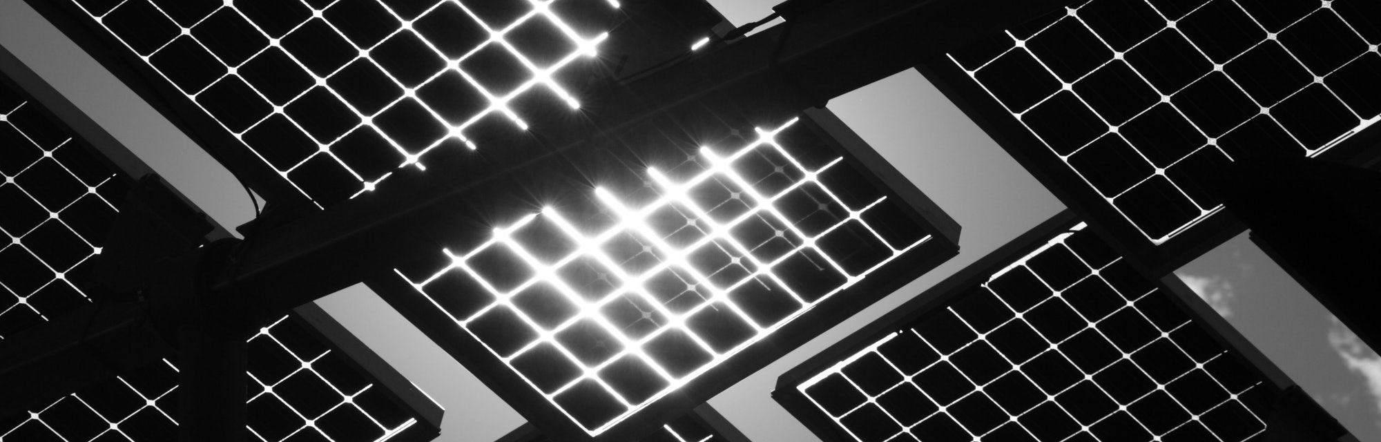 Solar panels on supported structure backlit by the sun