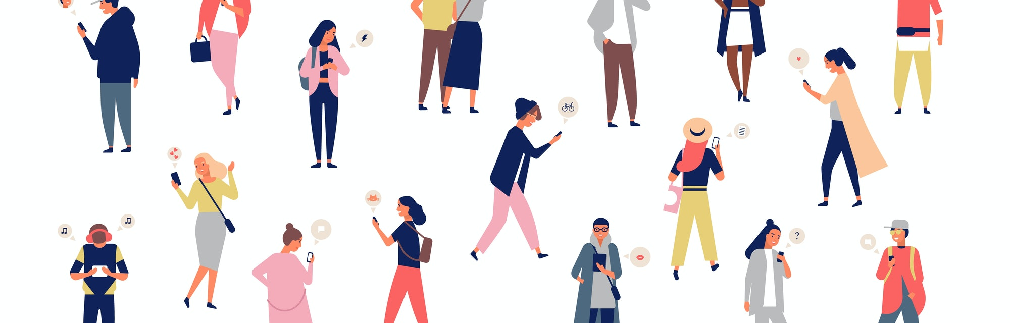 Crowd of young men and women holding smartphones and texting, talking, listening to music, taking selfie. Group of male and female cartoon characters with mobile phones. Flat vector illustration