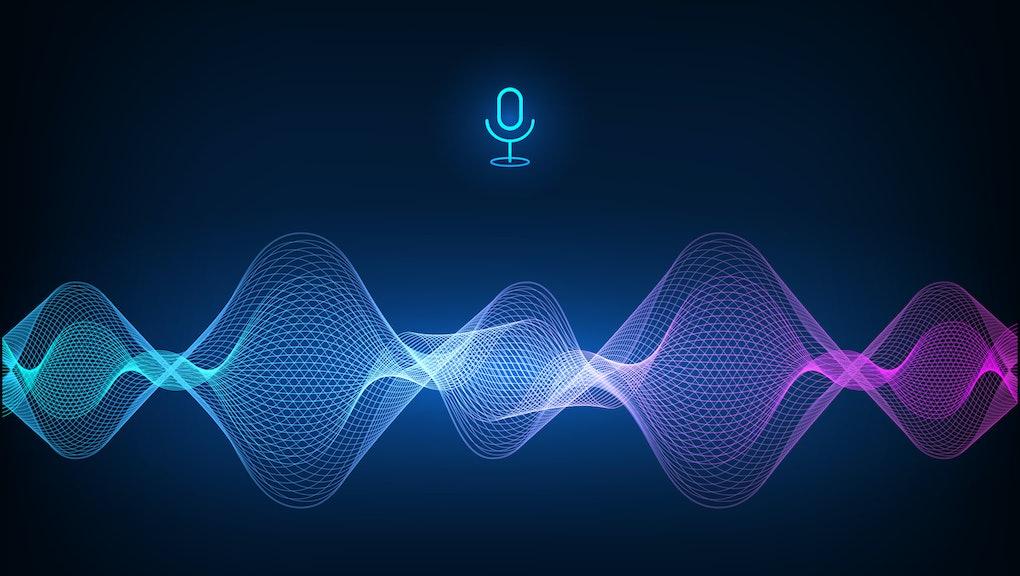 Voice assistant concept. Vector sound wave. Microphone voice control technology, voice and sound recognition. Hi-tech AI assistant voice, background wave flow, equalizer. Vector illustration