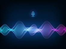 Voice assistant concept. Vector sound wave. Microphone voice control technology, voice and sound rec...