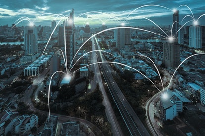 Network and Connection technology concept with city background in sunrise at Bangkok, Thailand