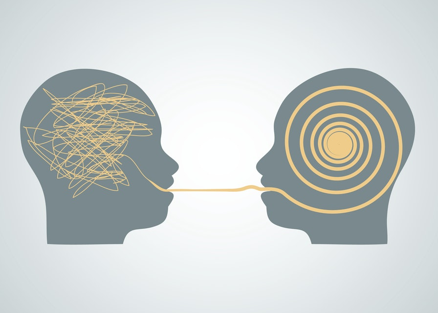 Vector illustration of 2 silhouette profile heads face to face, one with scribbling and second with accurate right maze, labyrinth. Talking, decoding and understanding process problems concept, symbol