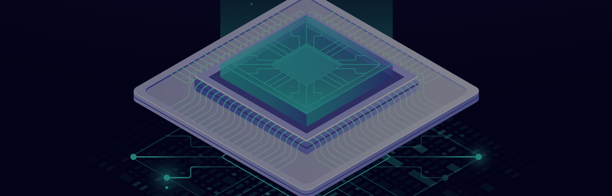 Quantum computer, large data processing, server room, data base concept, the microprocessor isometric vector