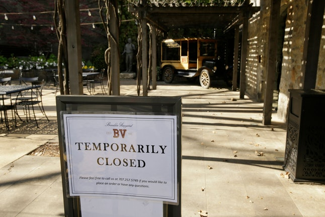 A temporarily closed sign is posted outside the entrance to the Georges De Latour Reserve Tasting Ro...