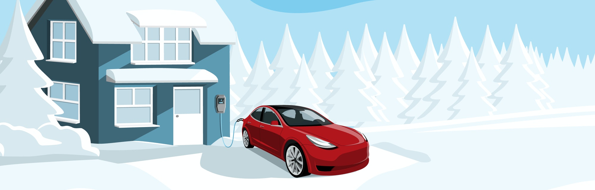 Electric car with a connected charging cable near a winter house. Vector illustration
