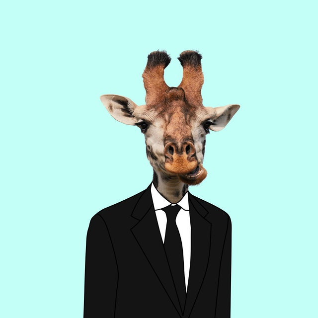 Funny Art collage. Giraffe wearing suit.
