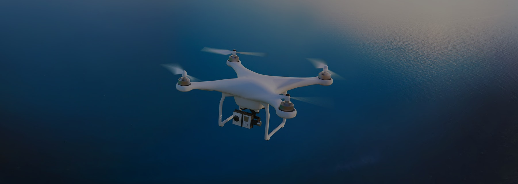 Electric drone flies in the sky. 3D illustration. Drone: 3d-model. Background: photo-panorama.