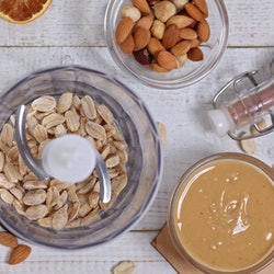 Homemade peanut butter ,flat lay composition, top view. Nutrition, healthy eating concept