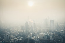 Cityscape of Bangkok the capital cities of Thailand covered by mixture of dust in air pollution, it ...