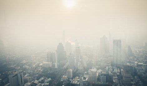 Cityscape of Bangkok the capital cities of Thailand covered by mixture of dust in air pollution, it is unhealthy.