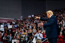 President Donald Trump arrives to speak at a campaign rally at Bojangles Coliseum, in Charlotte, N.C