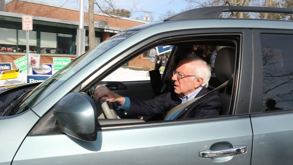 Democratic Presidential candidate and Vermont Senator Bernie Sanders and his wife Jane drive away after casting their ballots at a polling location inside a community center on Super Tuesday in Burlington, Vermont, USA, 03 March 2020. Fourteen states are holding their primaries with more than one third of the total pledged delegates in the Democratic primaries to be awarded on Super Tuesday.