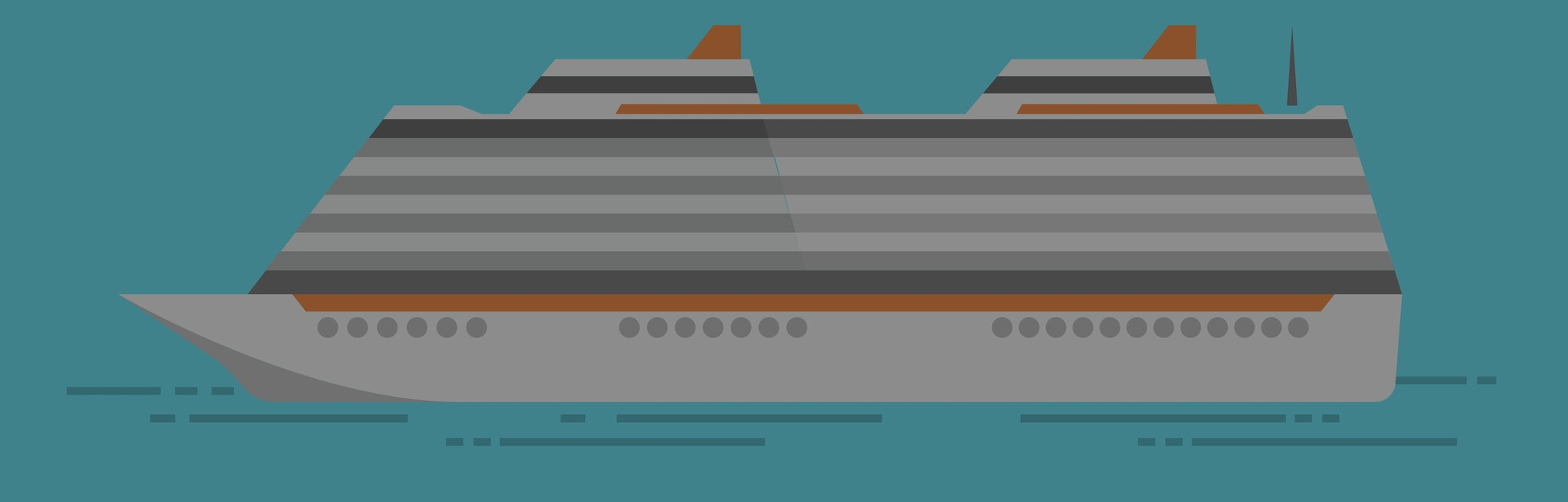 Vector illustration of sea cruise ship isolated on blue
