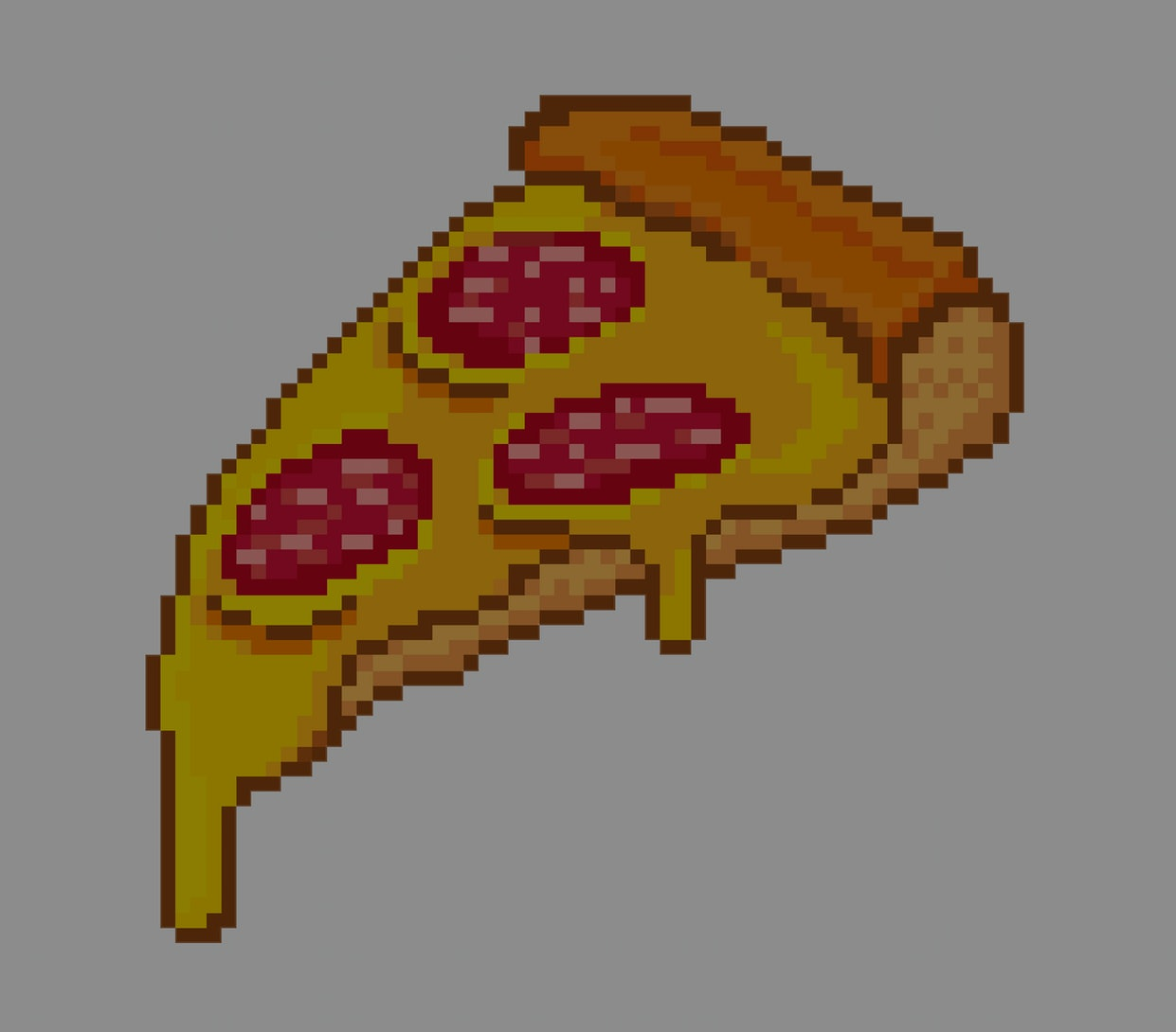 pixel art pizza with cheese and salami on a white background for video games