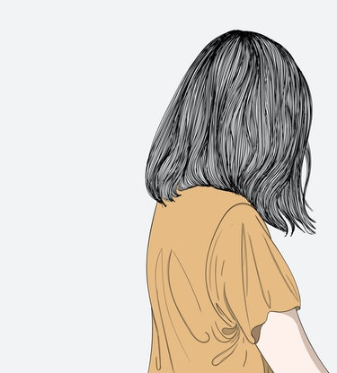 Doodle beautiful woman drawing.She was sadly crying in private.Hairstyles for women in modern style