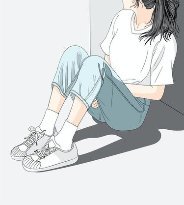 Woman wearing jeans sitting in the sun in the heat.She has a lonely and Sad mood waiting for someone...