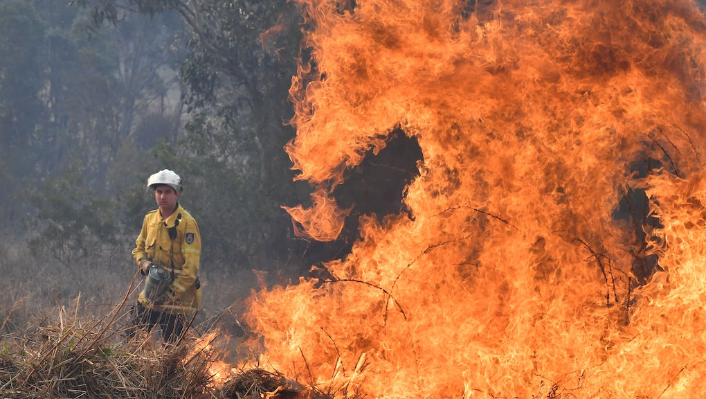 A New South Wales Rural Fire Service (NSW RFS) firefighters back burning on Long Gully Road in the northern New South Wales town of Drake, Australia, 09 September 2019. A number of homes have been destroyed by bushfires in northern New South Wales and Queensland.
