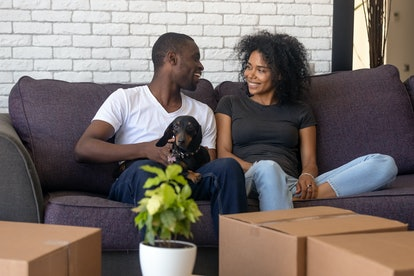 Young african american couple happy to move into new home with pet and boxes, black family tenants c...
