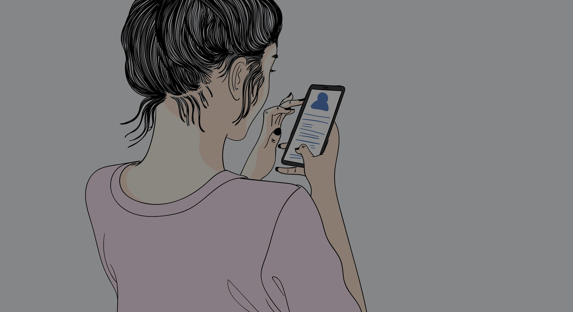 Women are playing smartphones. She talked to friends in social media.Doodle art concept, illustration painting .