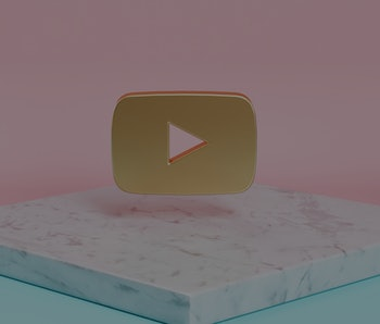 Golden Youtube Play Icon on the Candy Background . 3D Illustration of Golden Player, Youtube, Media, Video, Web, Play Icons on Pink and Blue Color With White Marble.