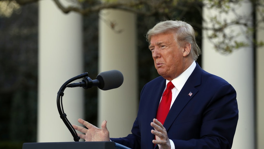 President Donald Trump speaks about the coronavirus in the Rose Garden of the White House, in Washington