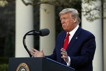 President Donald Trump speaks about the coronavirus in the Rose Garden of the White House, in Washin...
