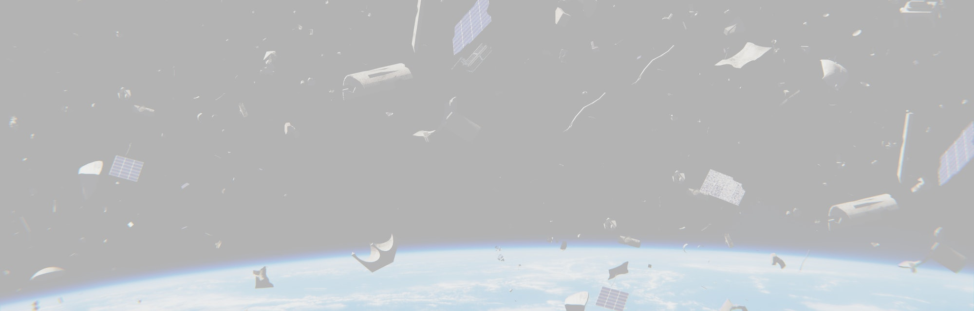 space debris in Earth orbit, dangerous junk orbiting around the blue planet (3d illustration, elements of this image are furnished by NASA)