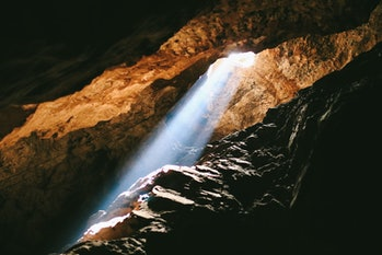 Light inside the Sterkfontein Caves in the  paleoanthropological site Cradle of Humankind in Johannesburg, South Africa