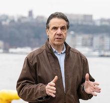 Governor Andrew Cuomo addresses media on arrival of USNS Comfort Navy ship Comfort with 1000 beds to...
