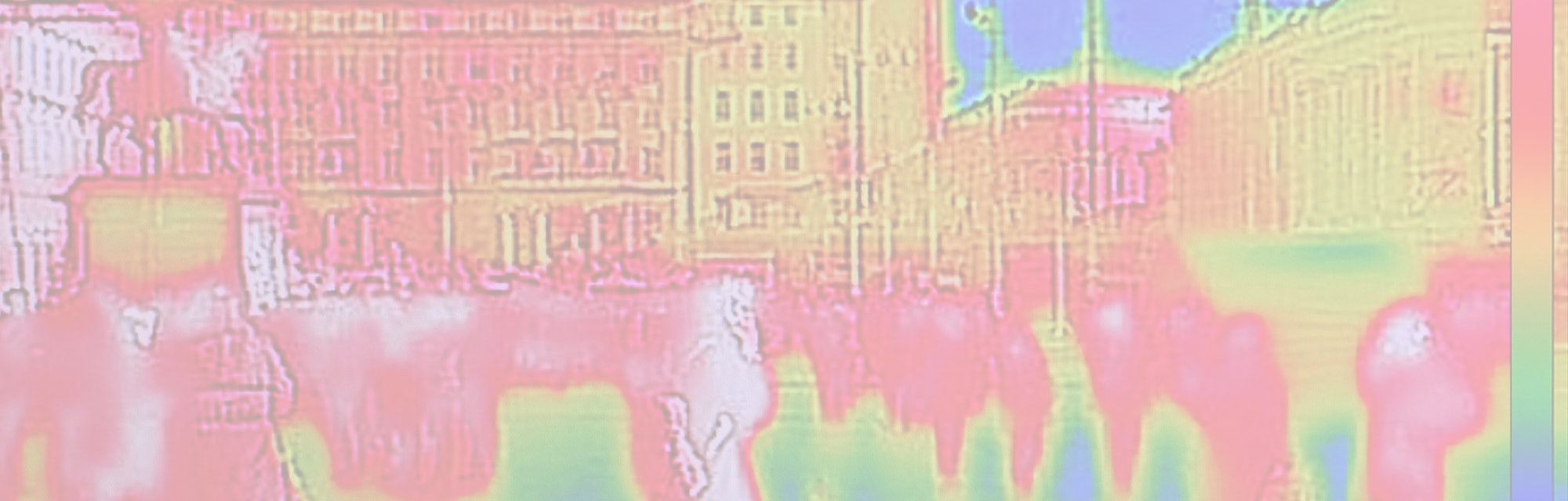 Infrared Thermal image of people walking the city streets, on a cold winter day