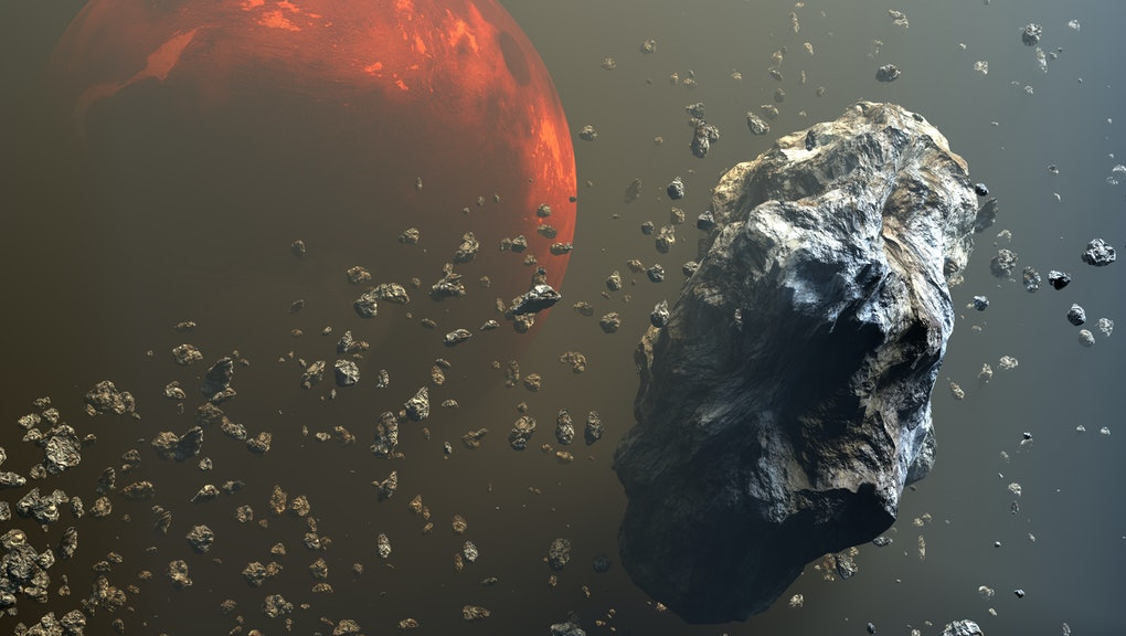 Asteroids or meteorites field in the outer space, formation of planets. 3d illustration