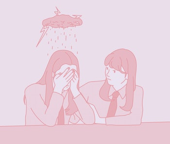 A schoolgirl covers her face with her hands and weeps, and a friend is comforting her next to her. hand drawn style vector design illustrations