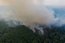 Smoke rises from a fire in the Amazon rainforest near route BR-163 and the Trans-Amazon highway in R...