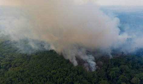 Smoke rises from a fire in the Amazon rainforest near route BR-163 and the Trans-Amazon highway in Ruropolis, Para state, Brazil. Official data show Amazon deforestation rose almost 30% in the 12 months through July, to its worst level in 11 years. Para state alone accounted for 40% of the loss, especially along the Trans-Amazon and BR-163 highways