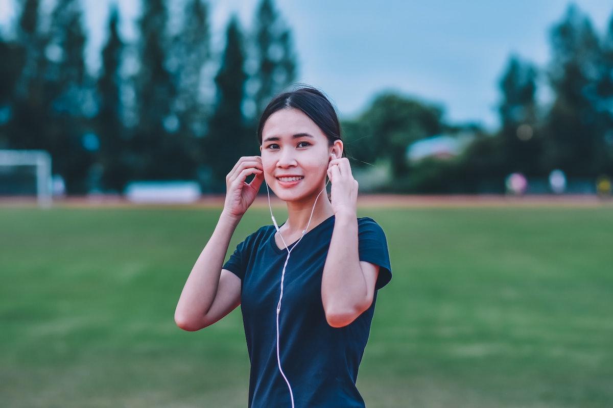 Women listening music running or jogging