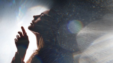 Double exposure of women face and galaxy. Abstract woman portrait on the background  of space world....