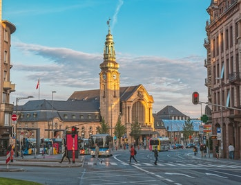 Luxembourg-city, Luxembourg central train station and public transport bus Unidentified people can b...