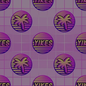 "Seamless pattern with word patches ""Yikes"" and palm trees. Pink grid gradient background."