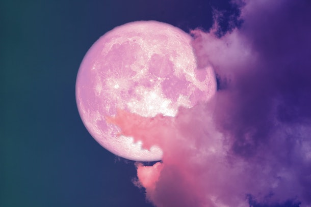 super full pink moon back silhouette colorful sky, Elements of this image furnished by NASA