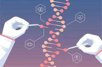 CRISPR CAS9 - Genetic engineering. Gene editing tool research illustration