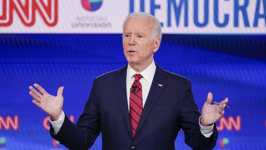 Former Vice President Joe Biden, participates in a Democratic presidential primary debate at CNN Studios in Washington. Joe Biden swept to victory in Florida, Illinois and Arizona on Tuesday, increasingly pulling away with a Democratic presidential primary upended by the coronavirus and building pressure on Bernie Sanders to abandon his campaign