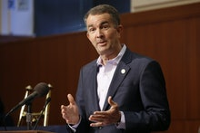 Virginia Gov. Ralph Northam gestures during a news conference at the Capitol in Richmond, Va. Gov. N...