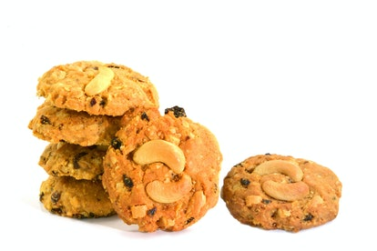 Cashews cookies,  Almond cookies  and chocolate chip cookies on white background