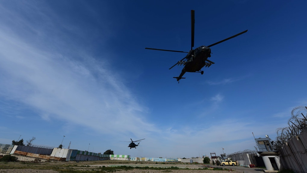 Iraqi military helicopters fly over the Al-Taqaddum Airbase (Habbaniyah), western Baghdad, Iraq on 04 April 2020. The US-led Coalition announced their official withdrawal from the Al-Taqaddum Airbase (Habbaniyah) in Iraq's Anbar Governorate, and transferring equipment and buildings worth approximately 3.5 million US dollars to the Iraqi government. The airbase is located in Habbaniyah, approximately 74 kilometers west of Baghdad.