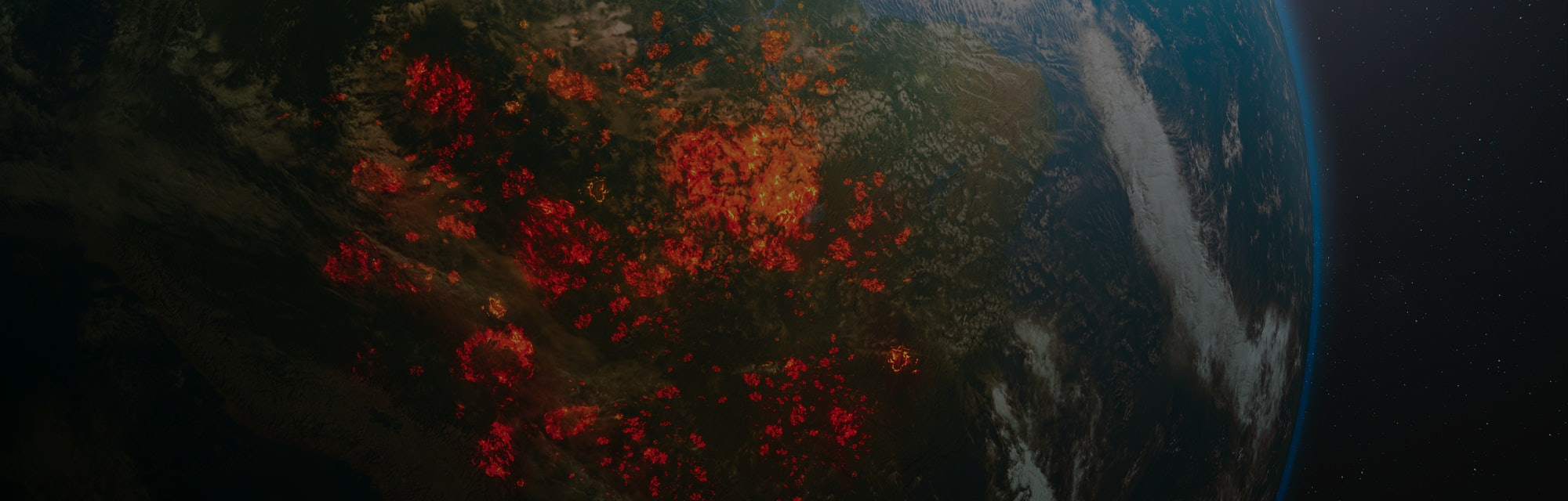 Aerial view from space of ecological disaster of fires in the Amazon, South America